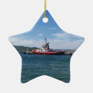 Tug In Harbor Ceramic Star Decoration