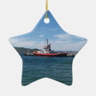 Tug In Harbor Christmas Ornament