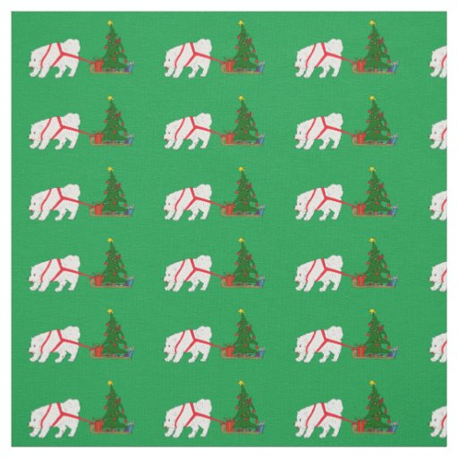 Tug the Samoyed pulling Christmas Tree Fabric