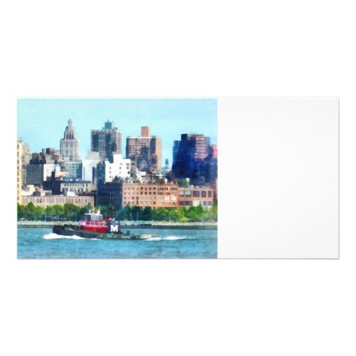 Tugboat Against Manhattan Skyline Photo Cards