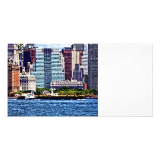 Tugboat Pushing Barge Near Manhattan Skyline Customised Photo Card