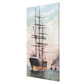 Tugboats Towing a Ship to Sea Canvas Print