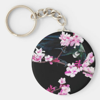 Tui Bird in the Cherry Blossoms Basic Round Button Key Ring