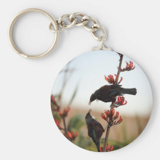 Tui birds on New Zealand flax Key Ring