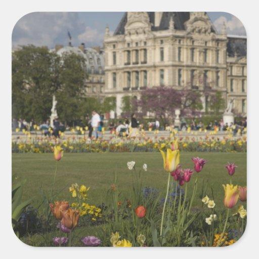 Tuileries Garden, Louvre, Paris, France Square Stickers