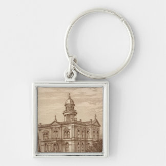 Tulare County Court House Silver-Colored Square Key Ring