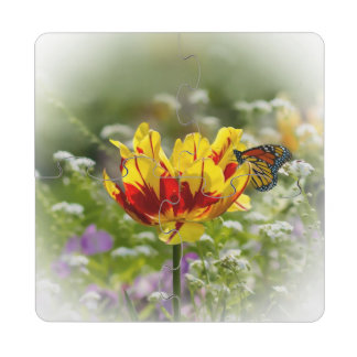 Tulip and Butterfly Puzzle Coaster