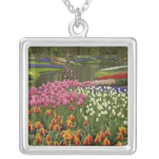Tulip and hyacinth garden, Keukenhof Gardens, Silver Plated Necklace