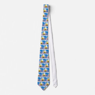 Tulip-and-sky1579 WHITE YELLOW TULIP FLOWER BLUE S Tie