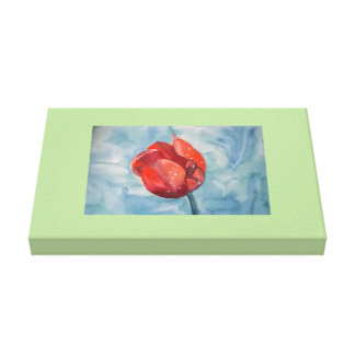 Tulip bloom water color canvas print