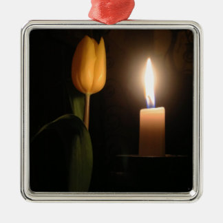 Tulip by Candlelight Silver-Colored Square Decoration