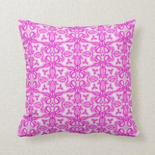 Tulip damask purple pink throw pillow Zazzle