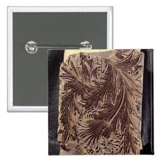Tulip design printing block, 1875 (carved wood) 15 cm square badge