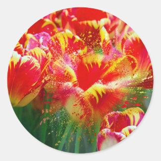 Tulip Explosion Round Sticker