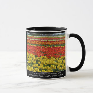 Tulip Field and Voltaire Quote Mug
