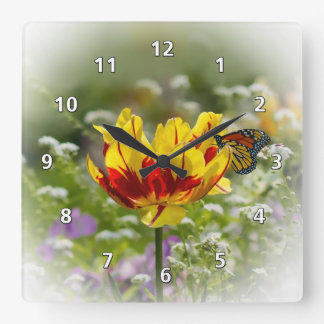 Tulip Flower and Monarch Butterfly Square Wall Clock