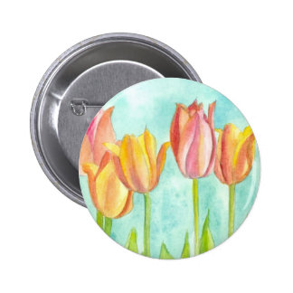 Tulip Flower Button Pin Watercolor Floral Art