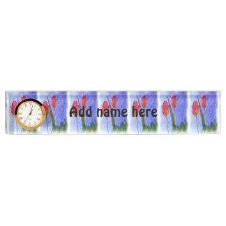 tulip flower drawing name plate