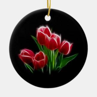 Tulip Flower Red Plant Round Ceramic Decoration