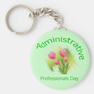 Tulip Flowers Administrative Professionals Day Basic Round Button Key Ring