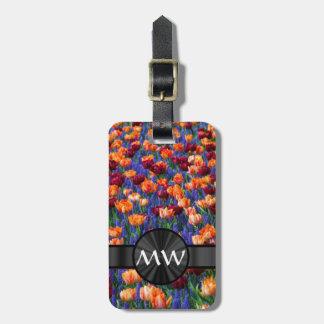 Tulip flowers luggage tag