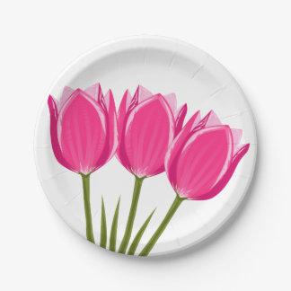Tulip Flowers Paper Plates