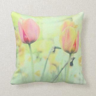 Tulip Flowers Square Cotton Throw Pillow