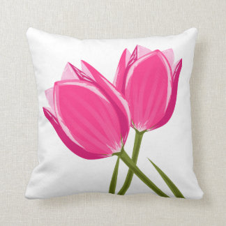 Tulip Flowers Throw Pillow
