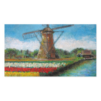 Tulip Flowers Windmill Painting Pack Of Standard Business Cards