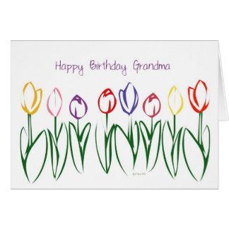 Tulip Garden Birthday Card for Grandmother