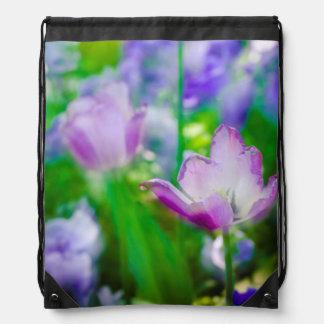 Tulip garden, Giverny, France Drawstring Bag