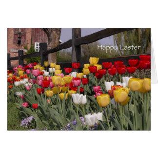 Tulip Garden Happy Easter Greeting Card