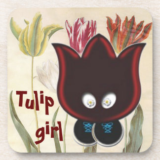 Tulip girl beverage coasters