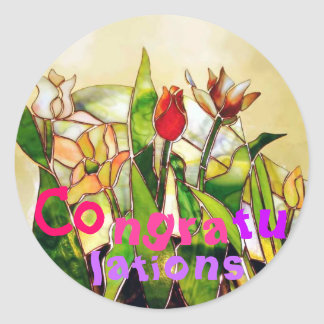 Tulip Ground Congratulations Art Sticker pink