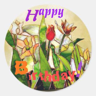 Tulip Ground Happy Birthday Art Sticker orange