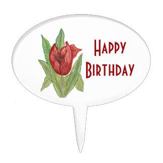 Tulip Happy Birthday Cake Pick