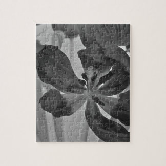 Tulip in Black and White Puzzle/Jigsaw with Tin Jigsaw Puzzle