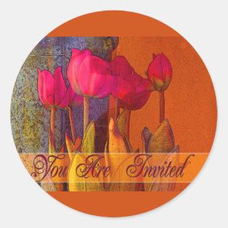 Tulip Invitation Round Sticker
