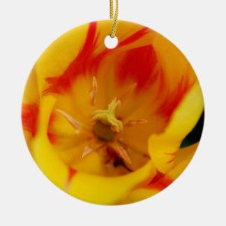 tulip macro round ceramic decoration