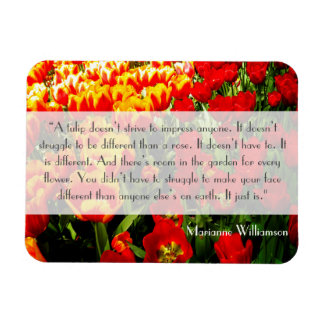 Tulip Magnet Inspirational Quote Red and Yellow