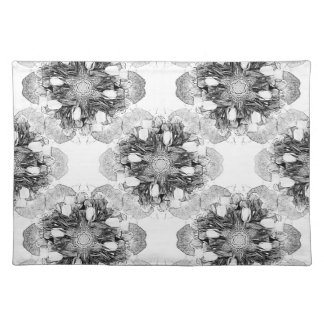 Tulip Mandala in Black and White Placemat