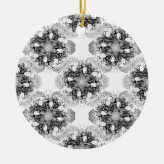 Tulip Mandala in Black and White Round Ceramic Decoration