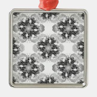 Tulip Mandala in Black and White Silver-Colored Square Decoration