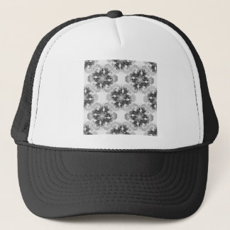 Tulip Mandala in Black and White Trucker Hat