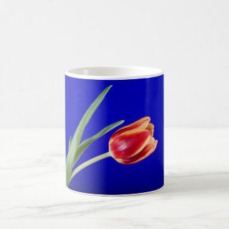 Tulip on blue background coffee mug