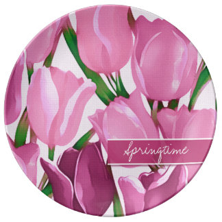 Tulip Painting | Custom Text Gift Porcelain Plates