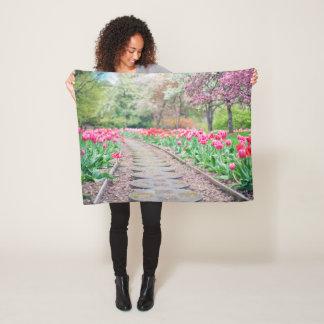 Tulip Pathway Fleece Blanket