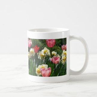 tulip,pink tulip and daffodil coffee mug