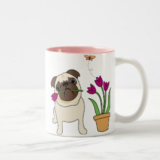 Tulip Pug and Butterfly Mugs - Text Optional