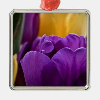 Tulip Purple Silver-Colored Square Decoration